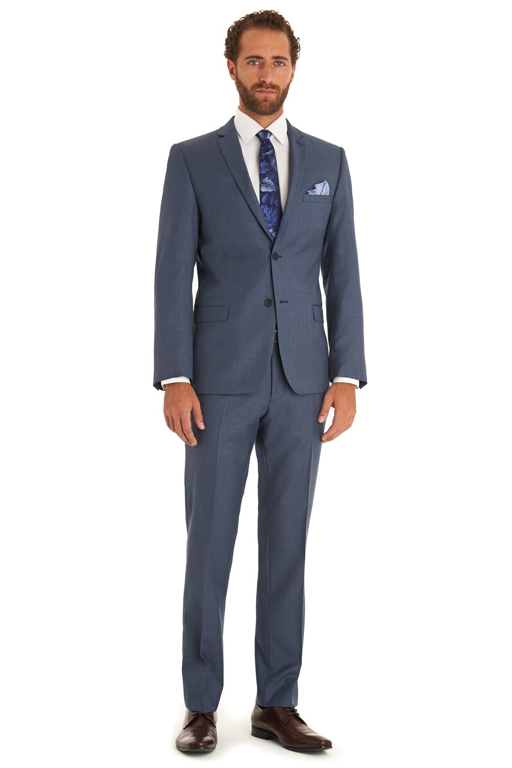 Ted baker endurance duckegg suit is single breasted with a notch