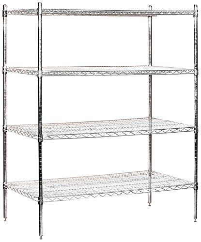 Salsbury Industries Stationary Wire Shelving Unit 48 Inch Wide By 63 Inch High By 24 Inch Deep Chrome Wire Shelving Salsbury Industries Wire Shelving Units