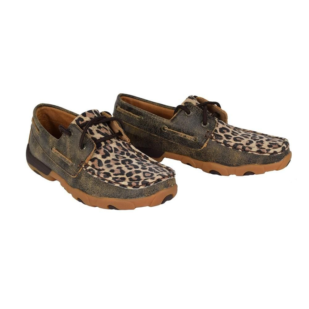 Distressed//Leopard NEW WDM0057 Twisted X Women's Driving Moccasins