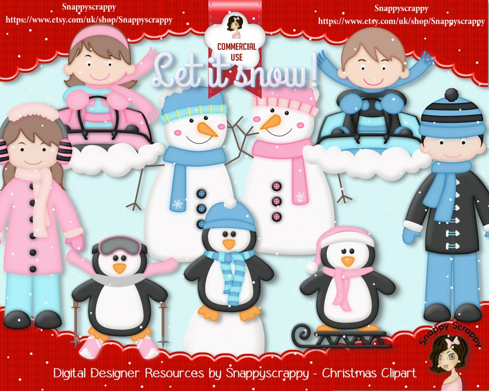 Christmas Clipart, Snowmen, Penguins, Children, commercial use, designer resoursces, snappyscrappy, https://www.etsy.com/uk/listing/246726162/christmas-scrap-kit-designer-resources?ref=shop_home_active_2