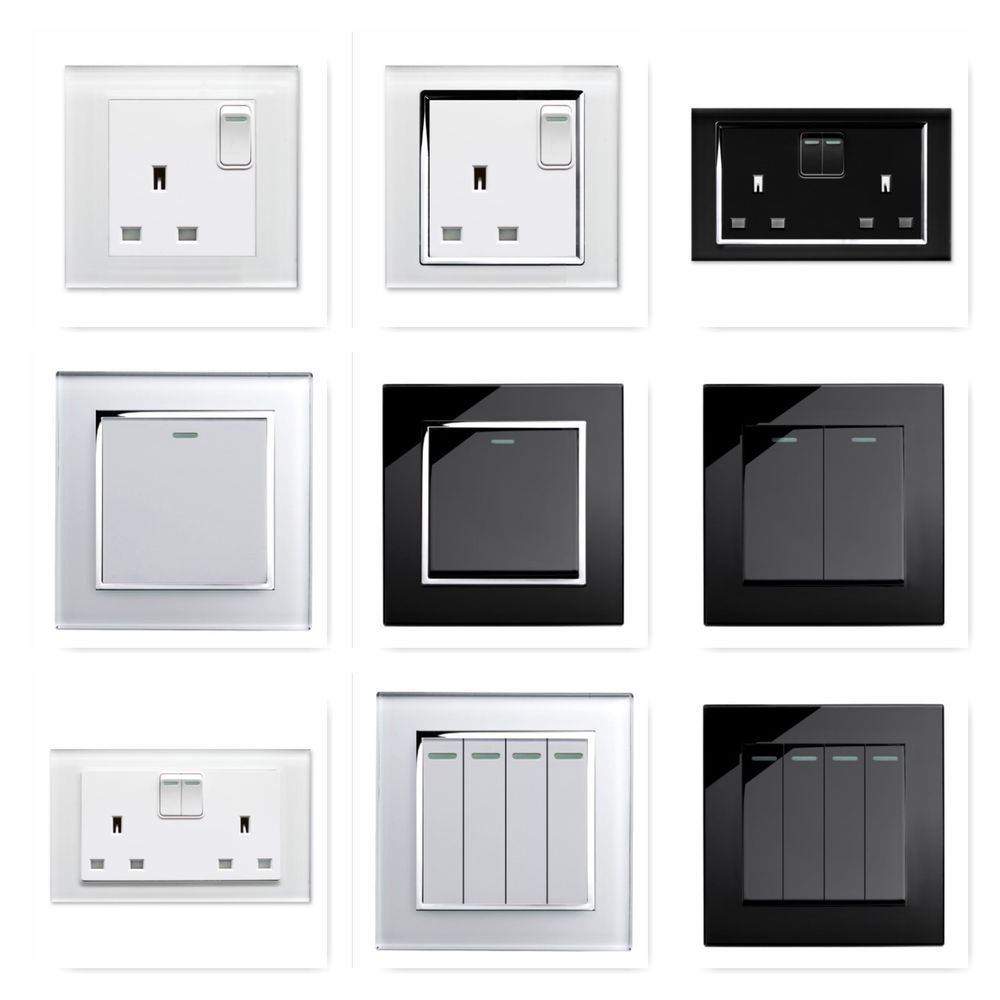 Retrotouch Black White Gl Rocker Light Switches Plug Sockets Single Double
