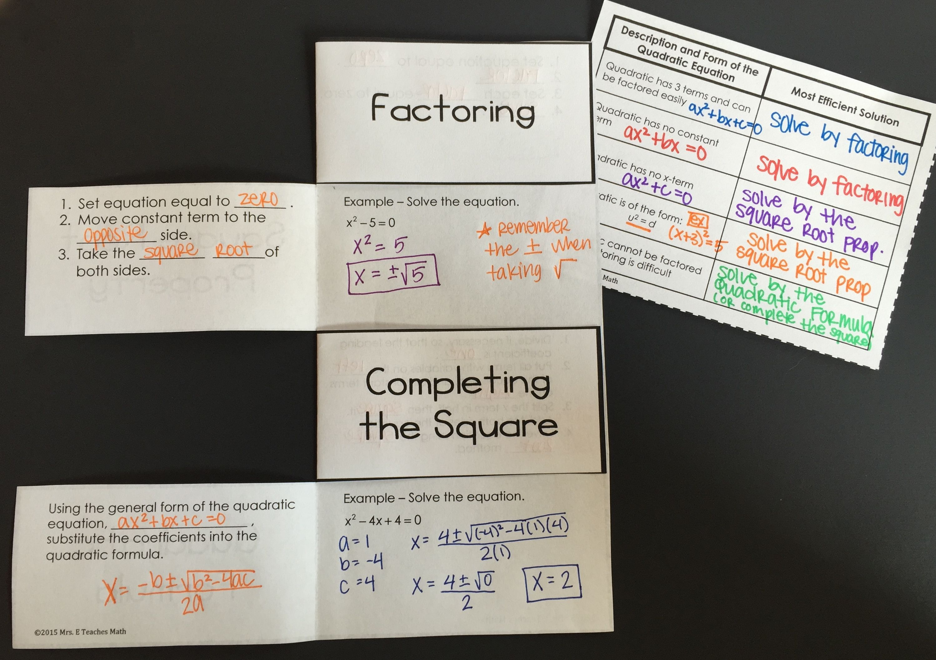 Quadratics Equations Foldable Methods