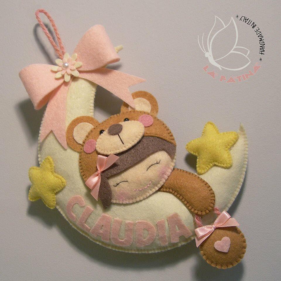 Enfeite De Lua ~ porta maternidade em lua Feltro Pinterest Porta maternidade, Lua e Bonecas em feltro