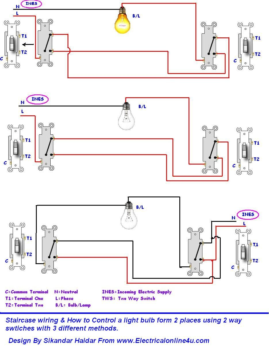 do staircase wiring with 3 different methods electrical online 4u how to wire bulb by one way switch electrical online 4u electrical [ 936 x 1227 Pixel ]
