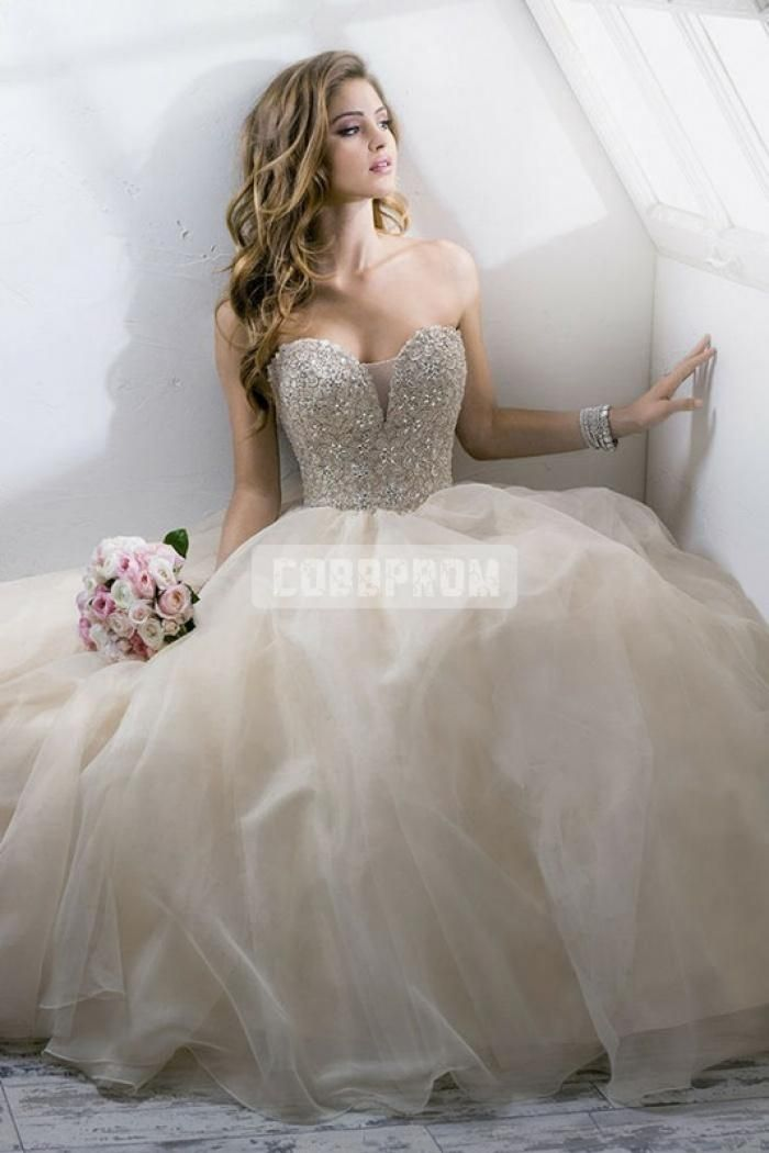 Sweetheart Beading Bodice Plunging Organza Princess Wedding Gown ...