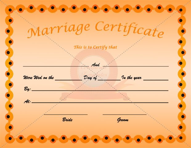Marriage Certificate Orange Template  Marriage Certificate