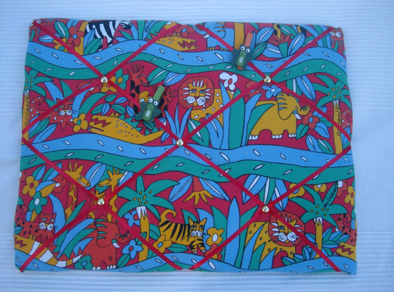 Handmade Padded Memo Board In A Fun Jungle Print Cotton Notice