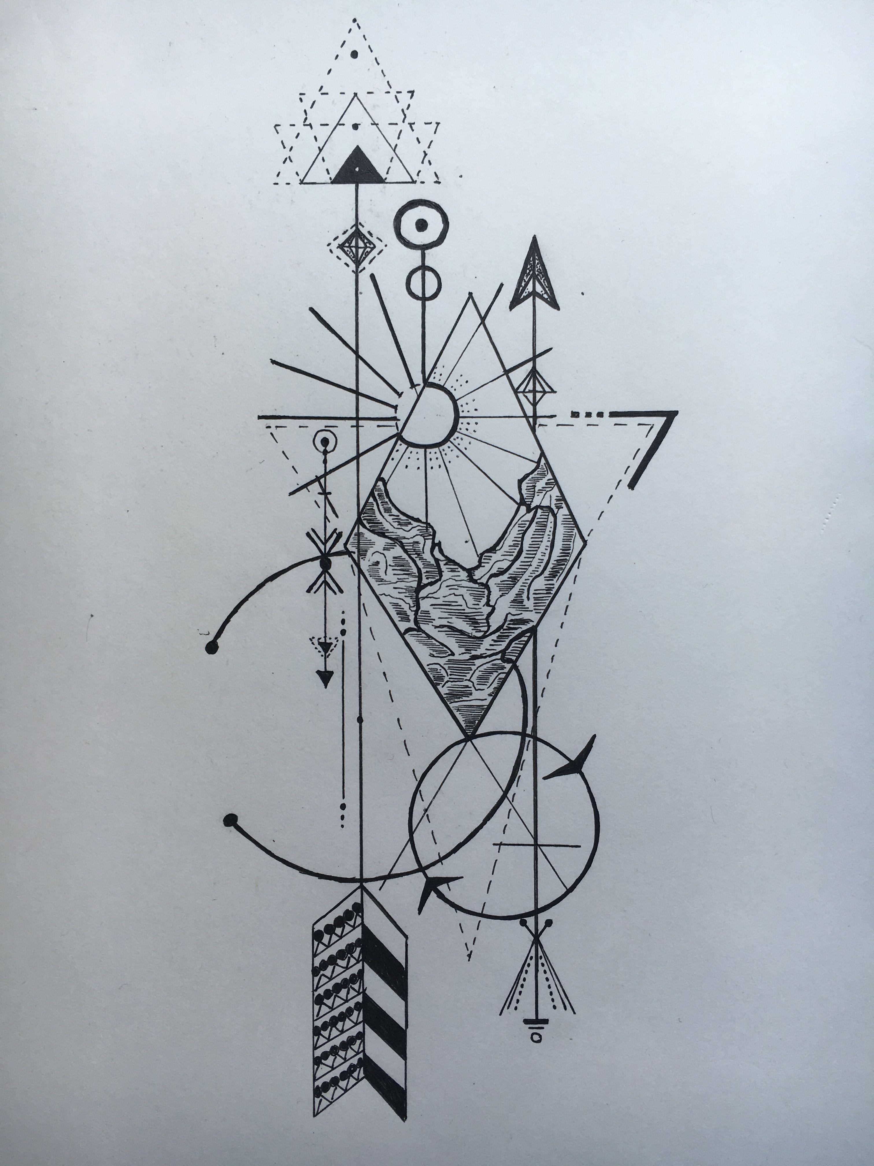 Inkhood Design Mountains Sun Arrow Tattoo Geometric
