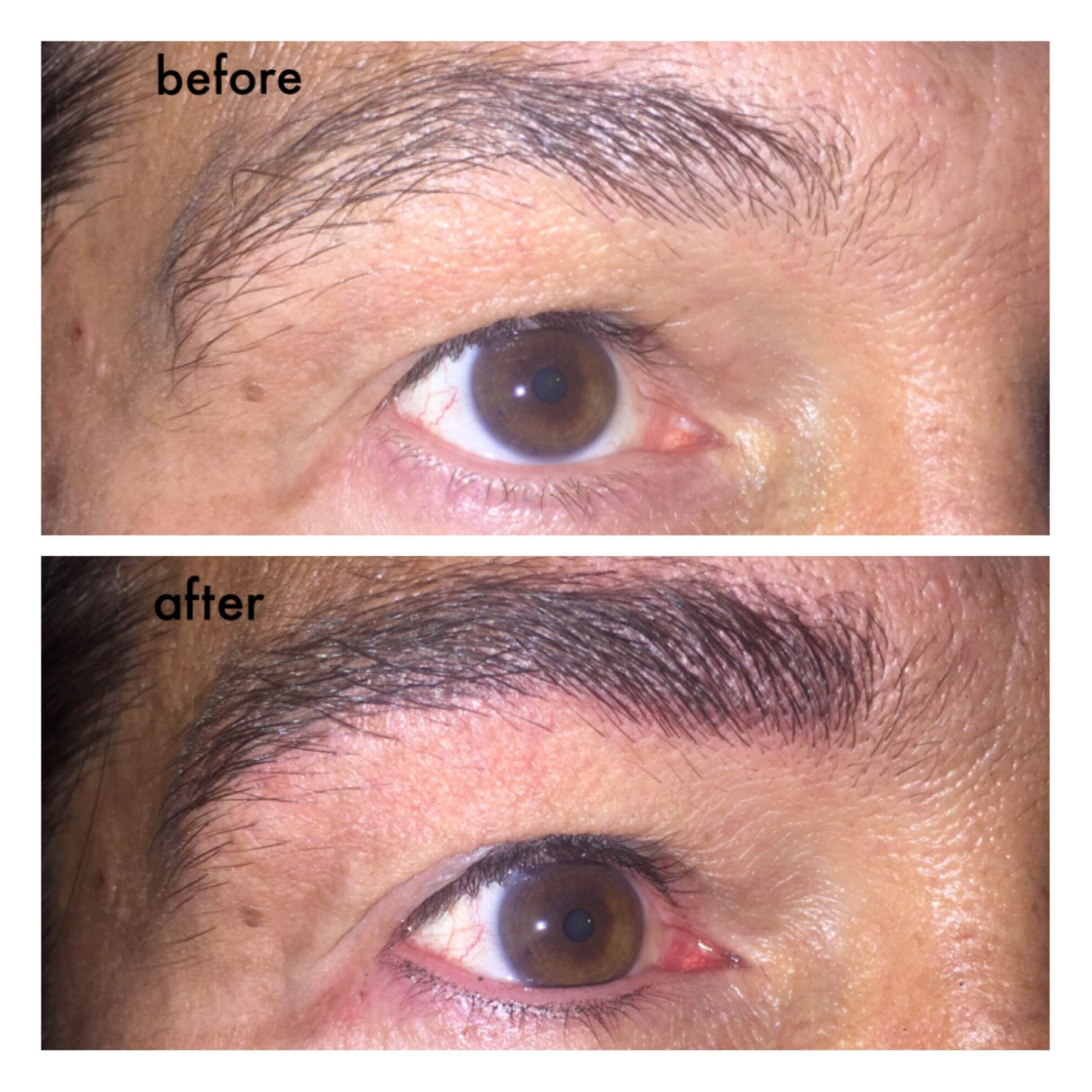 Men's eyelash enhancement and filled brows with