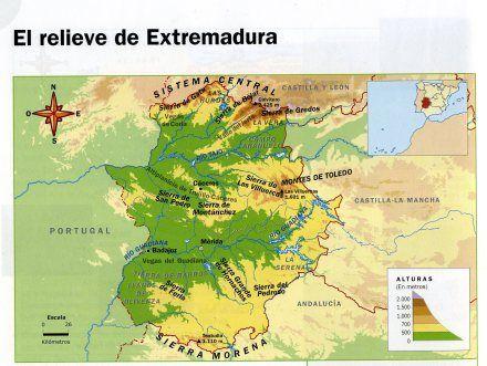 Sistemas Beticos Mapa Fisico.Tema 9 Mapa Fisico De Extremadura Mapa Fisico Mapas Y