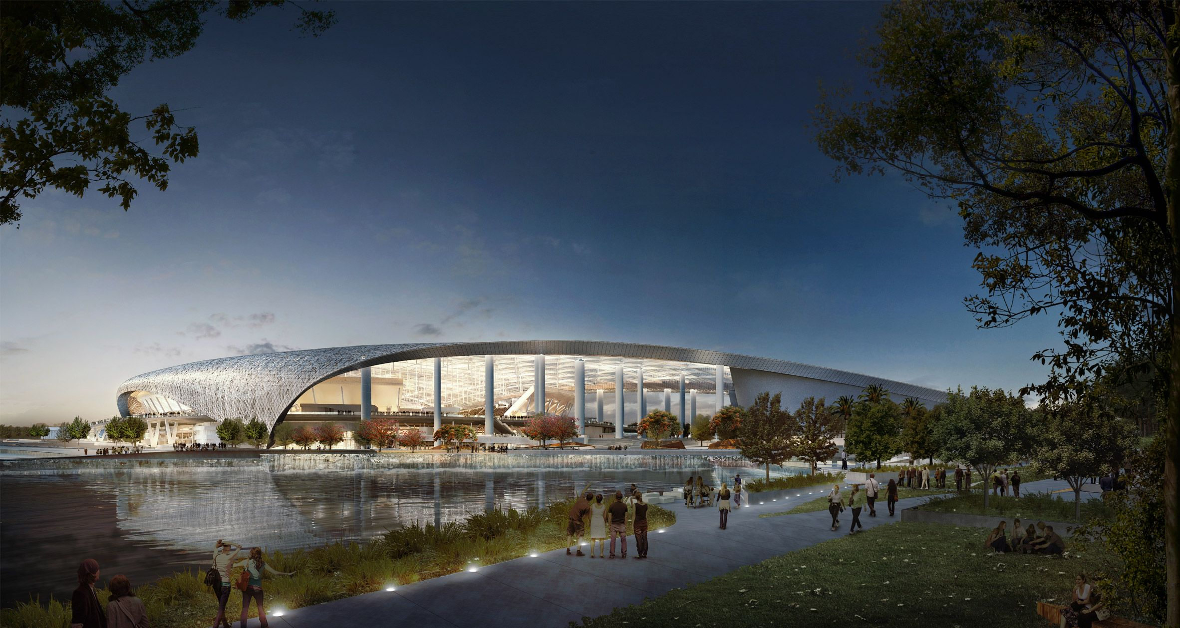 Encompassing Nearly Three Million Square Feet 2 7 Million Square Metres This Sports Arena Is Now Under Constru Stadium Architecture Stadium Los Angeles Rams
