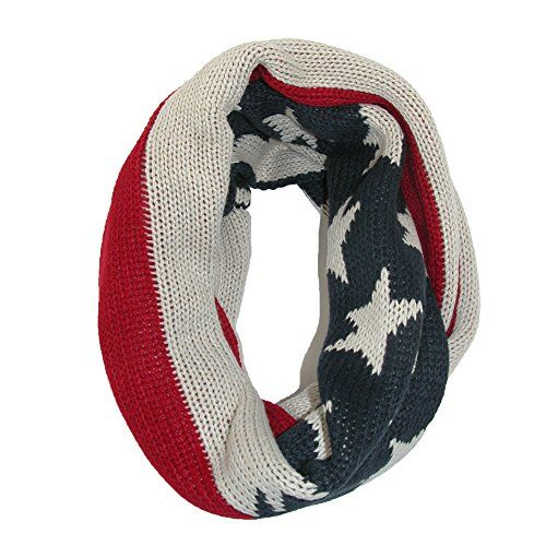 David Young Womens Knit American Flag Winter Loop Scarf Red David Young Http Www Amazon Com Dp B00oi1gg6y Re Knitting Women Loop Scarf Womens Wrap Scarf