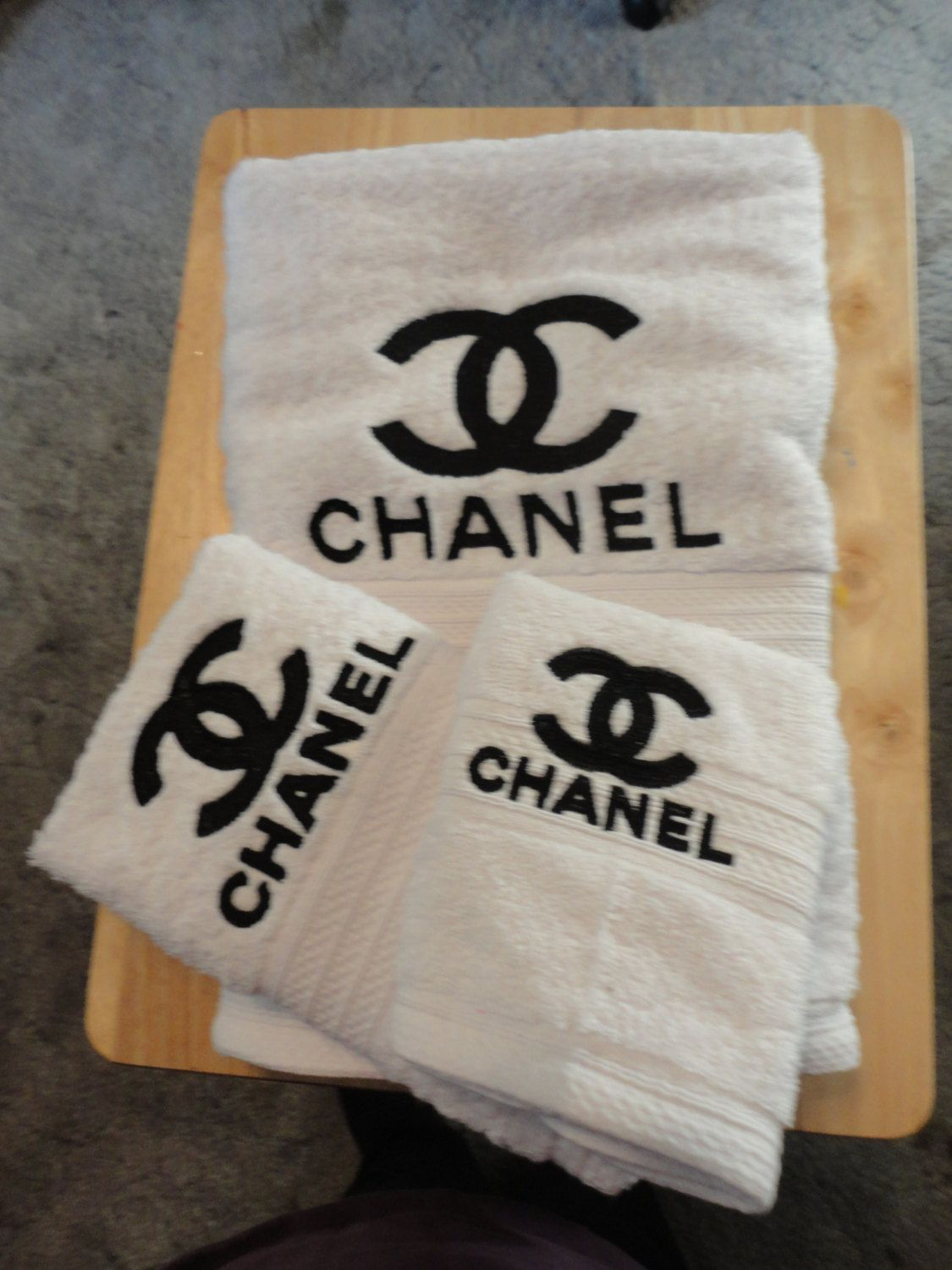 Chanel Inspired Embroidered Bath Towel Set Bath Towel Hand Towel And Washcloth Shown On White Towel With Black W Chanel Decor Chanel Room Chanel Bedroom