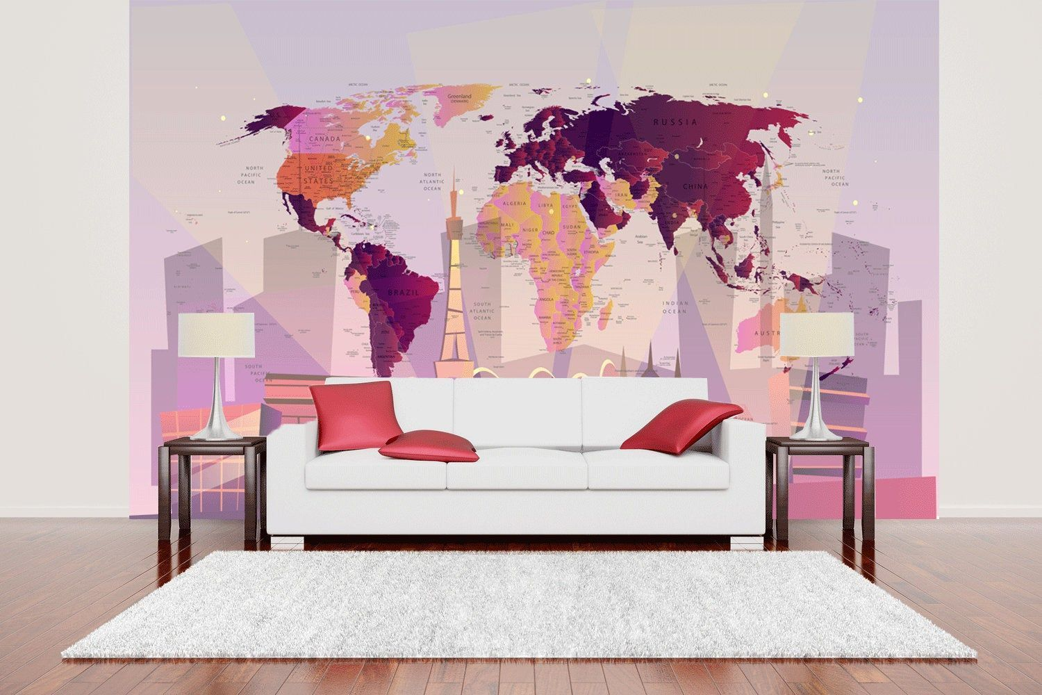 World map Wall mural for living room, World map purple decal for walls, Higth detailed world map wall mural of world SKU 20314 #worldmapmural World map Wall mural for living room, World map purple decal for walls, Higth detailed world map wall mural of world SKU 20314 #worldmapmural