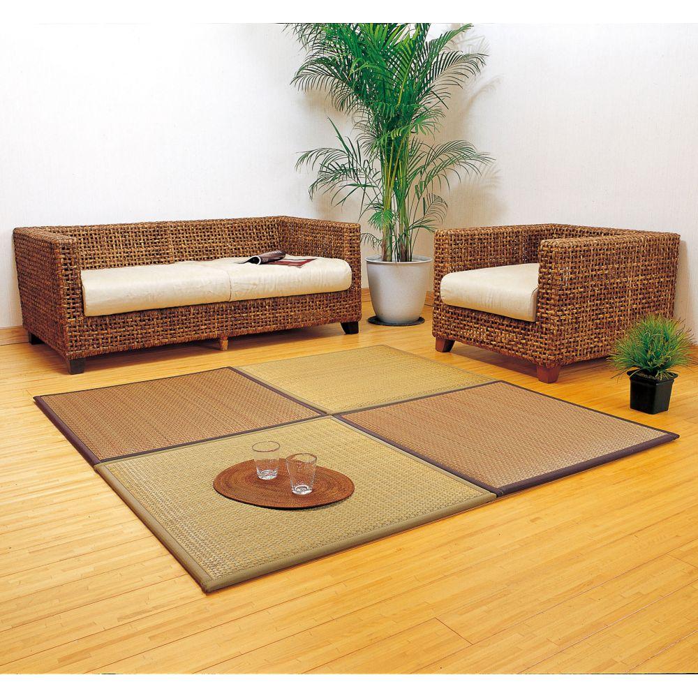 Tapis Japonais Natte En Paille De Riz Marron Ou Beige Taido 82x82cm Tapis Japonais Paille De Riz Interieur Japonais Moderne