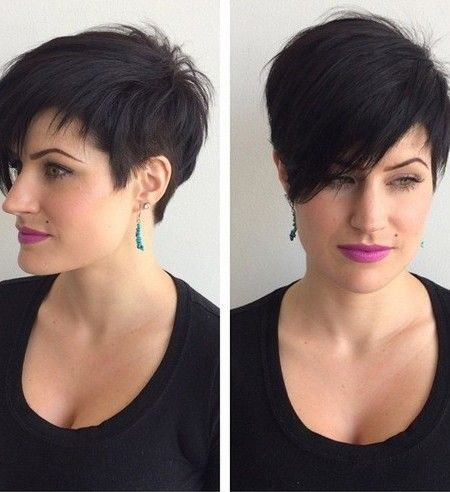 Pixie Haircut With Long Bangs Short Hairstyles For Face Shape 450x492