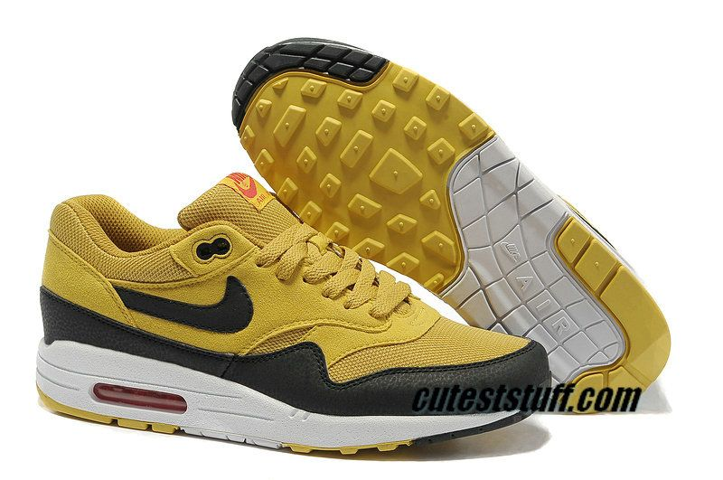 buy popular 6e173 19d3b Mens Nike Air Max 1 Canyon Gold Sail University Red Black Shoes