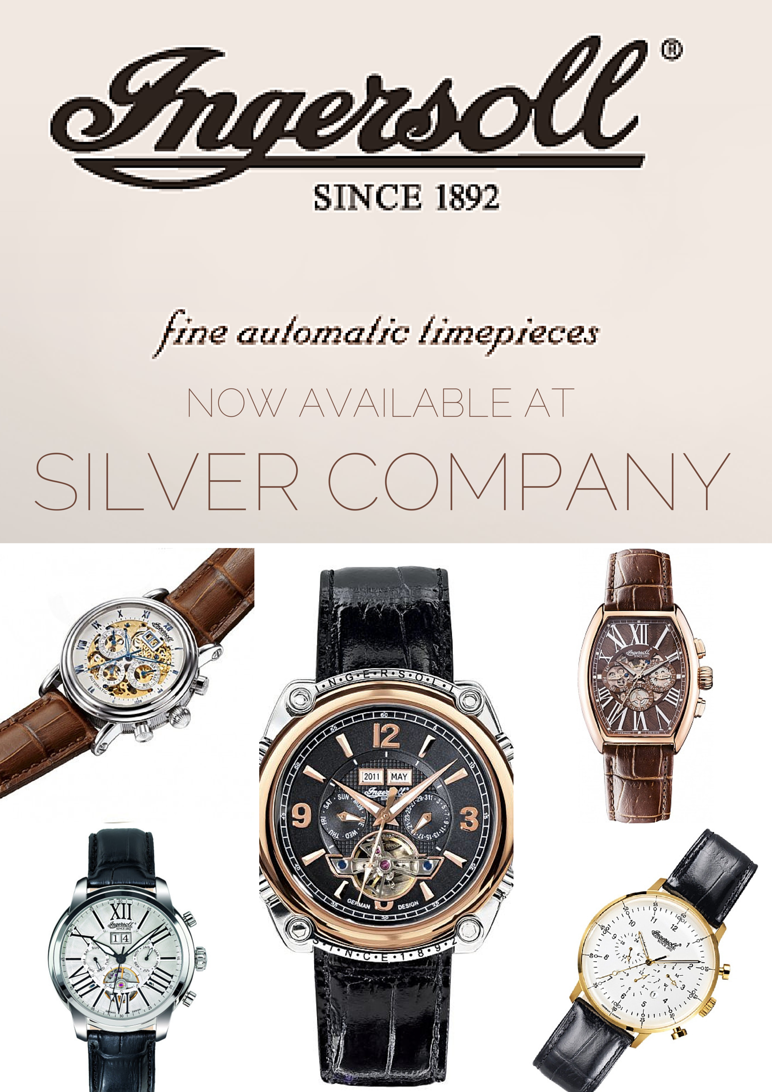 Ingersoll now available at our Rosebank store! Rich in history, eye catching design and reliable mechanics remain the hallmarks of Ingersoll watches.    Silver Company Eastgate Mall, Centurion Mall and Rosebank Mall. info@silvercompany.co.za