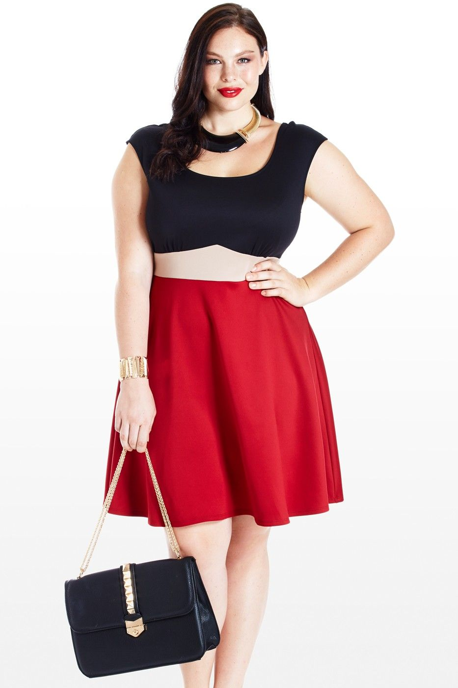 Capped Off Flared Colorblock Dress Bbw Personal Taste With A Twist