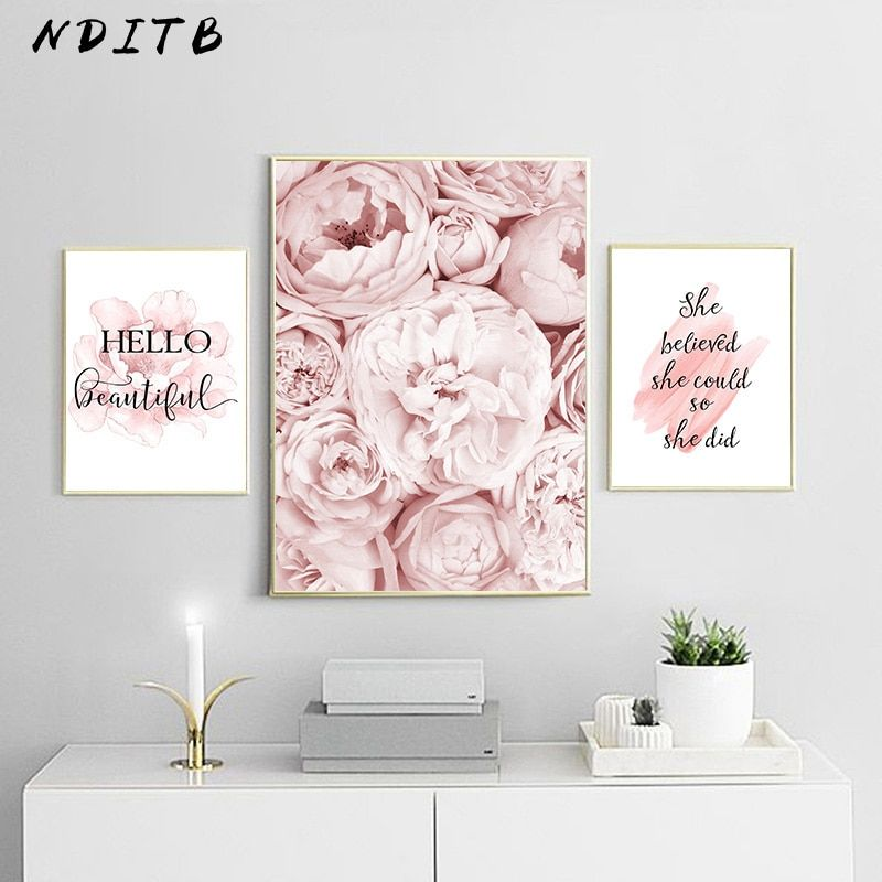 Pink Peony Flower Poster Nordic Style Fashion Quotes Wall Art Print Canvas Painting Modern Picture Girl Room Home Deco In 2020 Cafe Wall Art Wall Art Quotes Girl Room
