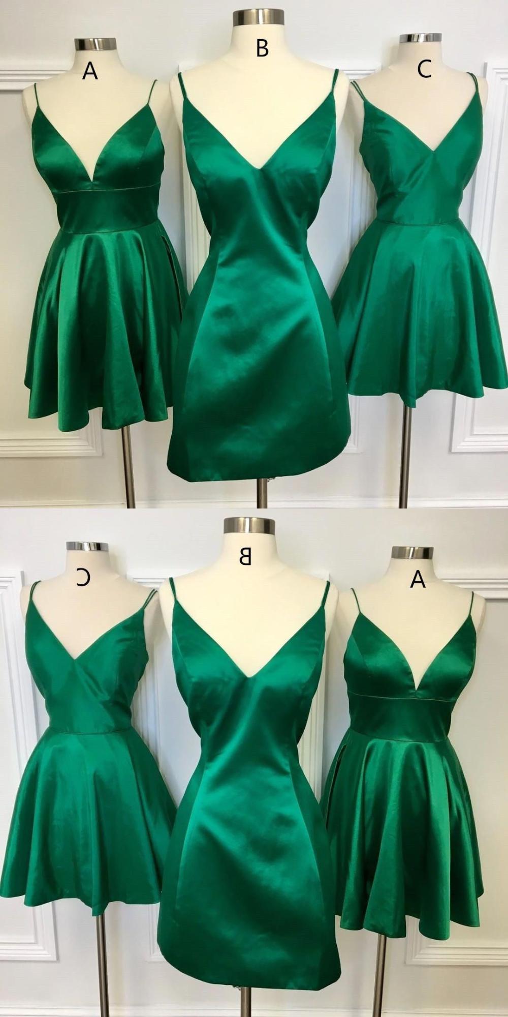 Simple A Line Short Homecoming Dresses Emerald Green Satin Hoco Dresses Cheap Ho Green Homecoming Dresses Cheap Homecoming Dresses Homecoming Dresses Under 100 [ 2000 x 1000 Pixel ]
