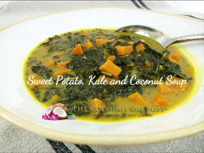 Sweet Potato, Kale, Curried Coconut Soup