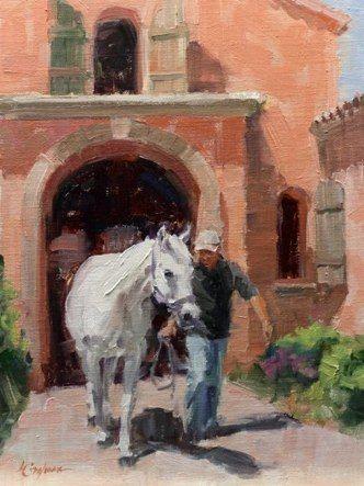 "Lindsey Bittner Graham's painting ""Bringing Out San Souci"" ~ 12"" x 9"" Oil"