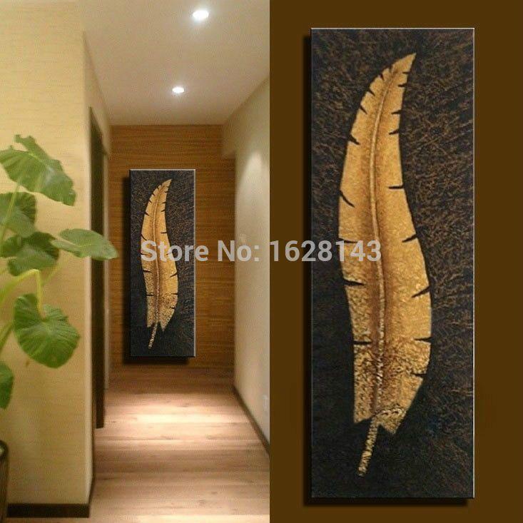 R tro et nostalgique style peinture l 39 huile longue plume for Cuadros verticales grandes