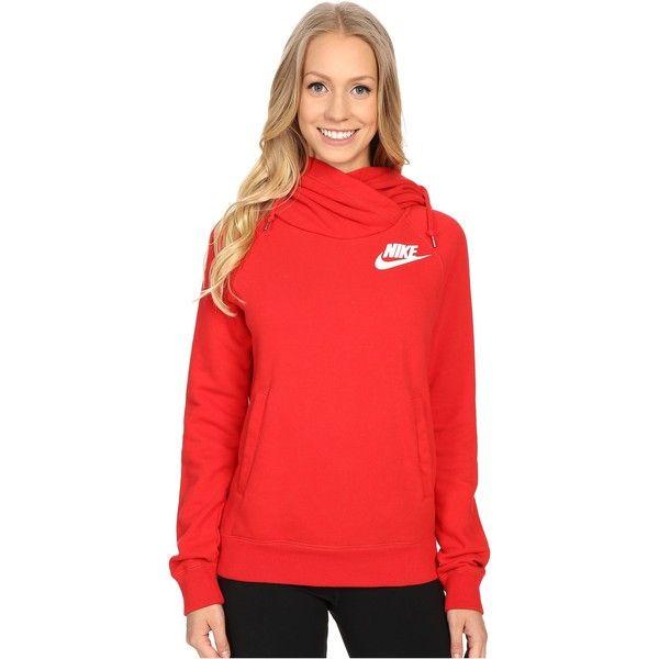 55188831e Nike Rally Funnel Neck Hoodie Women's Sweatshirt ($43) ❤ liked on Polyvore  featuring tops, hoodies, sweatshirts, red, red hooded sweatshirt, pullover  ...