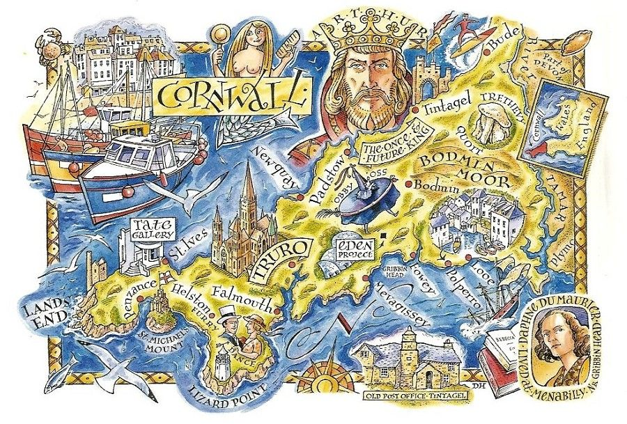 David Hobbs Map of Cornwall design map inside Pinterest
