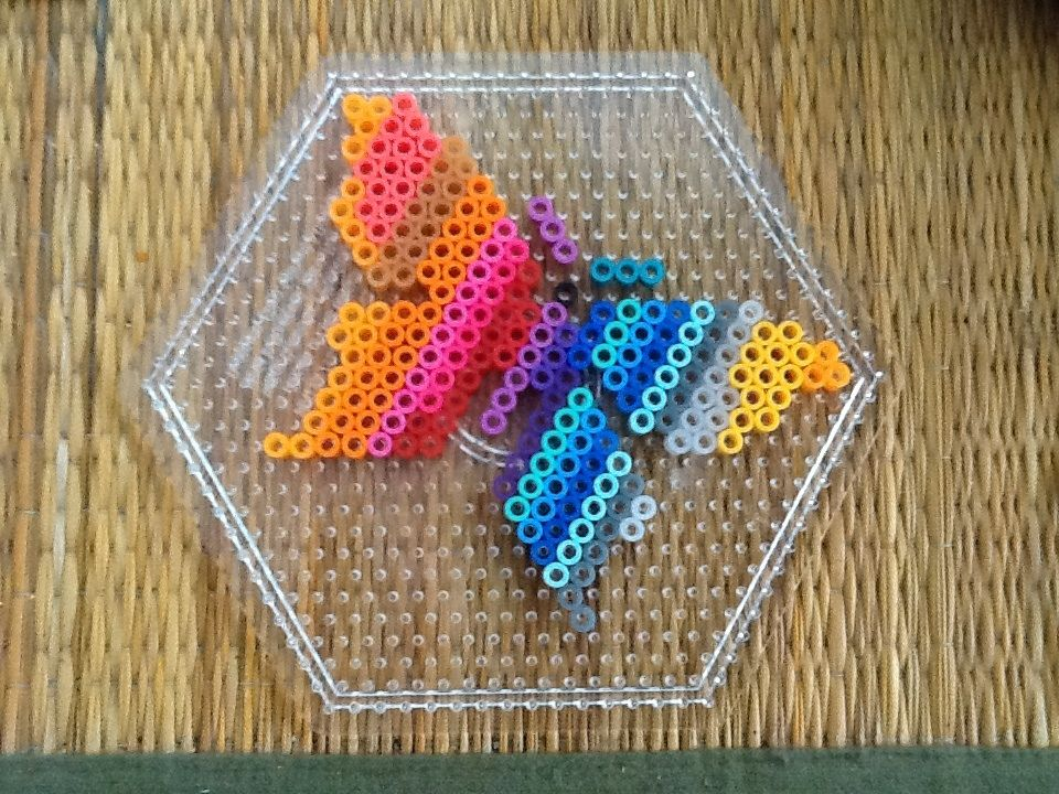 rainbow butterfly perler beads hama hama by jane. Black Bedroom Furniture Sets. Home Design Ideas