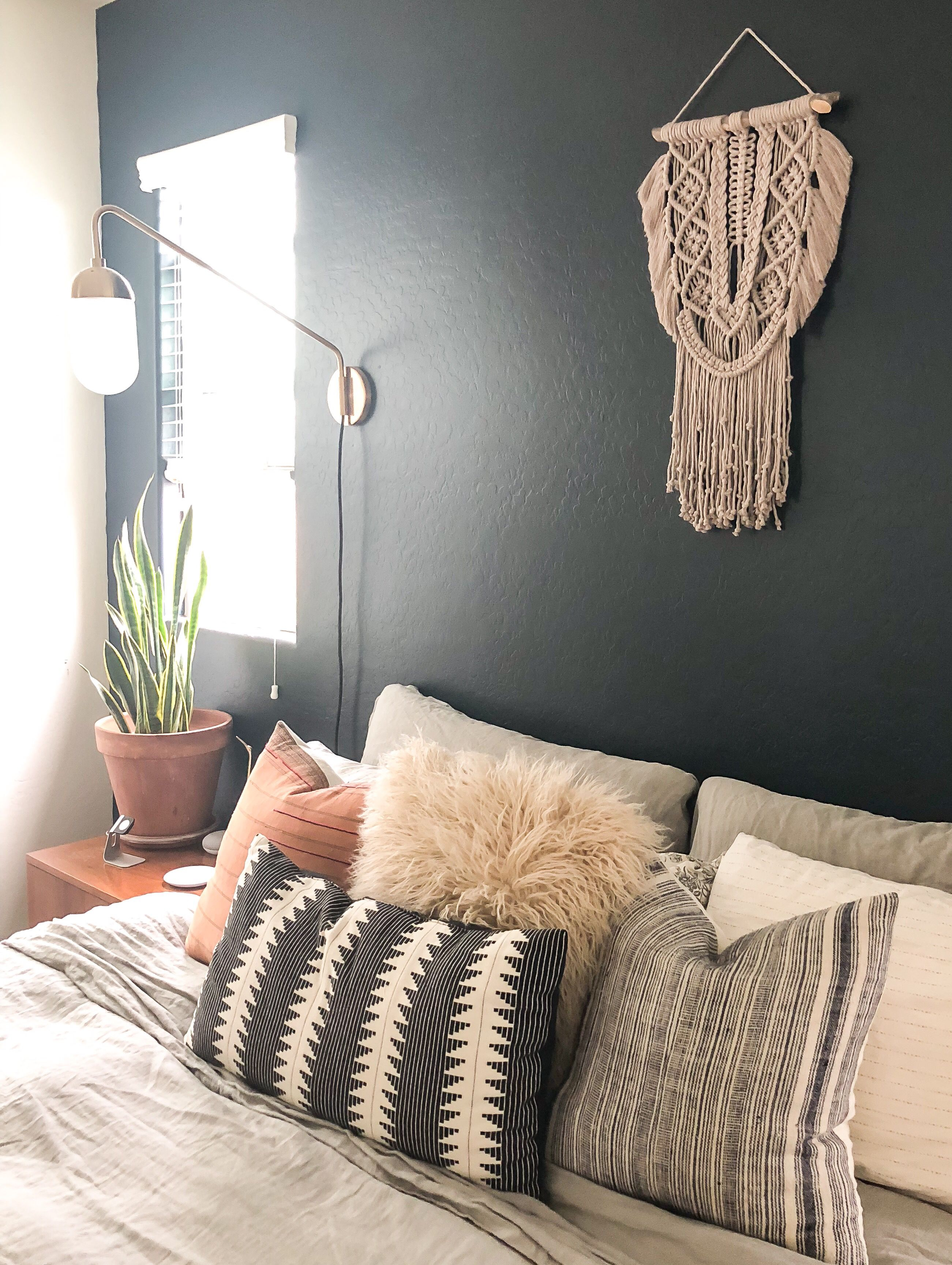 Gray macrame wall hanging with fringe. | Bedroom wall decor ...