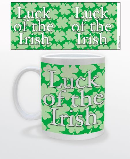 """****Get 25% off our St. Patrick's Day Gifts with the coupon code PIN25**** This green and white coffee mug contains a pattern of four leaf clovers, with the phrase """"Luck of the Irish"""" written over the pattern."""
