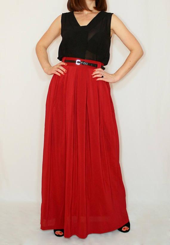 11b110a4565c Bridesmaid skirts Wine red maxi skirt Women Chiffon skirt High waisted long  skirt with pockets