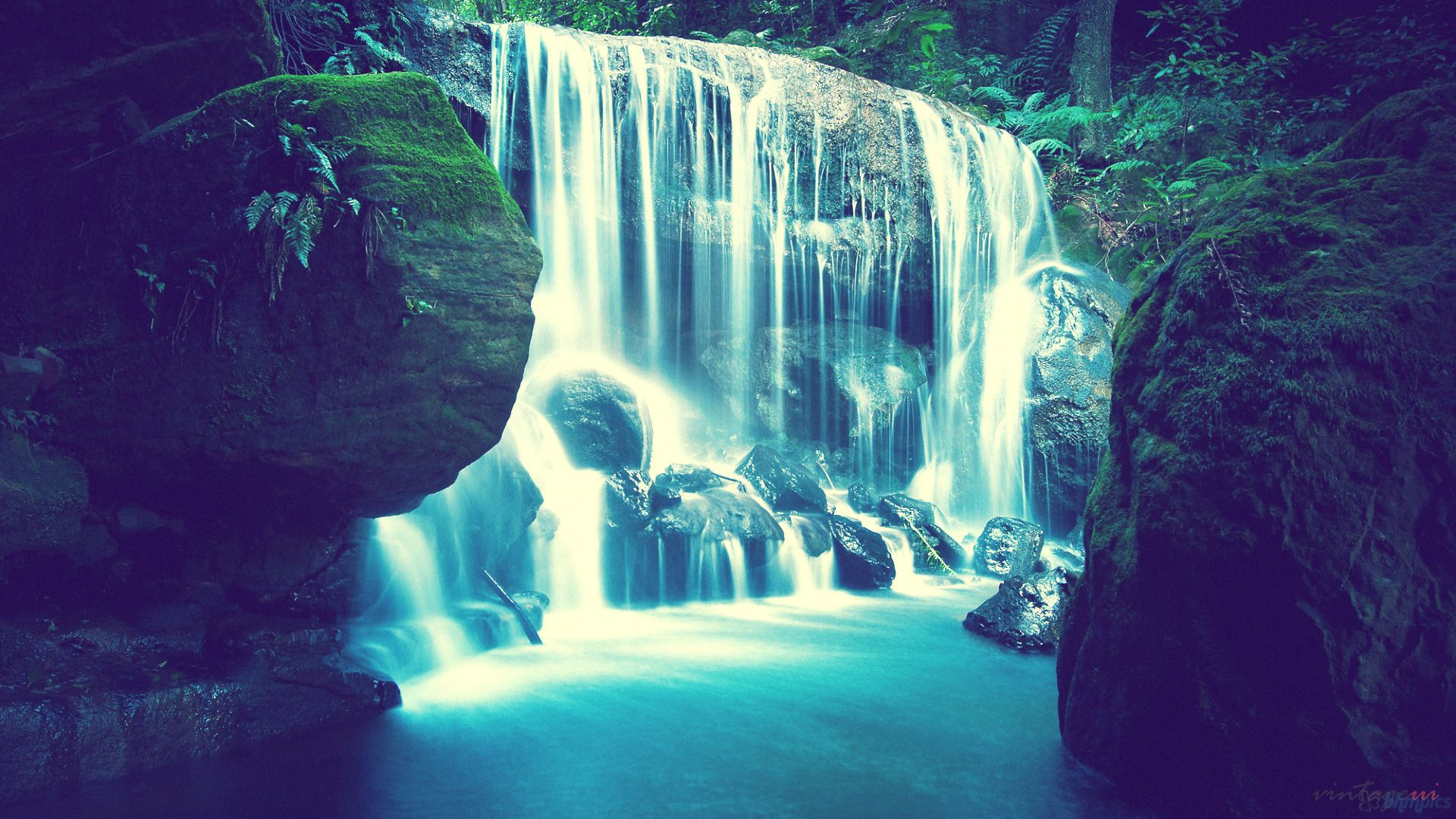 1920x1080 High Definition Hd Vintage Style Waterfall Wallpapers 50