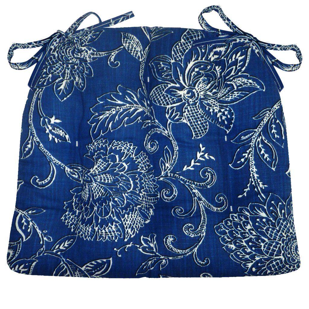 Best Benson Blue Floral Dining Chair Pad Latex Foam Fill 400 x 300