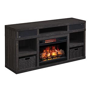 Greatlin Infrared Electric Fireplace Tv Stand In Black Walnut