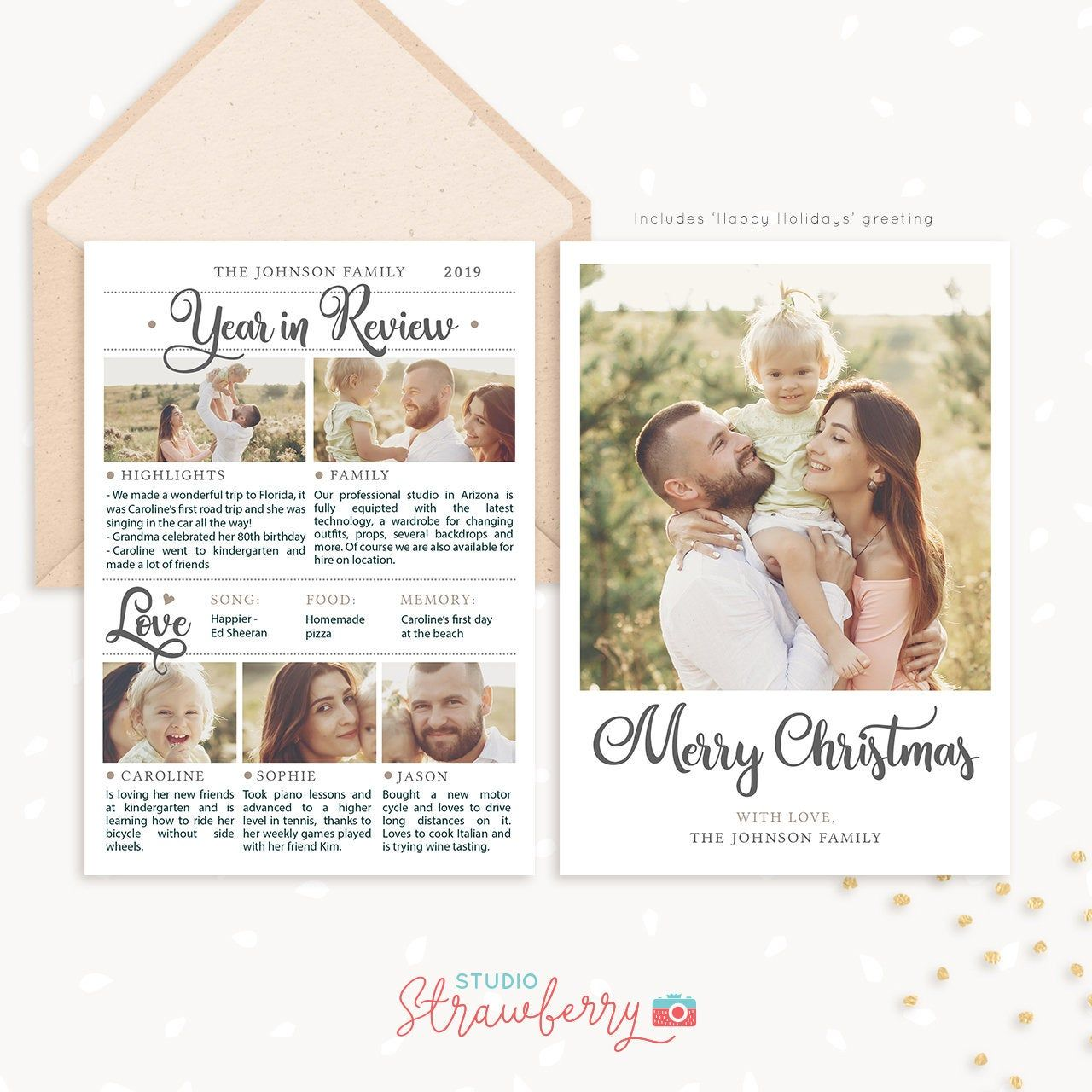 Year In Review Christmas Card Template 2019 Overview Year In Etsy In 2021 Christmas Card Template Photoshop Christmas Card Template Family Christmas Cards