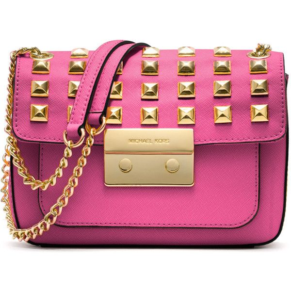 0099cb498ad8 ... order michael michael kors small sloan studded shoulder bag 298 liked  on polyvore 0342f ff709