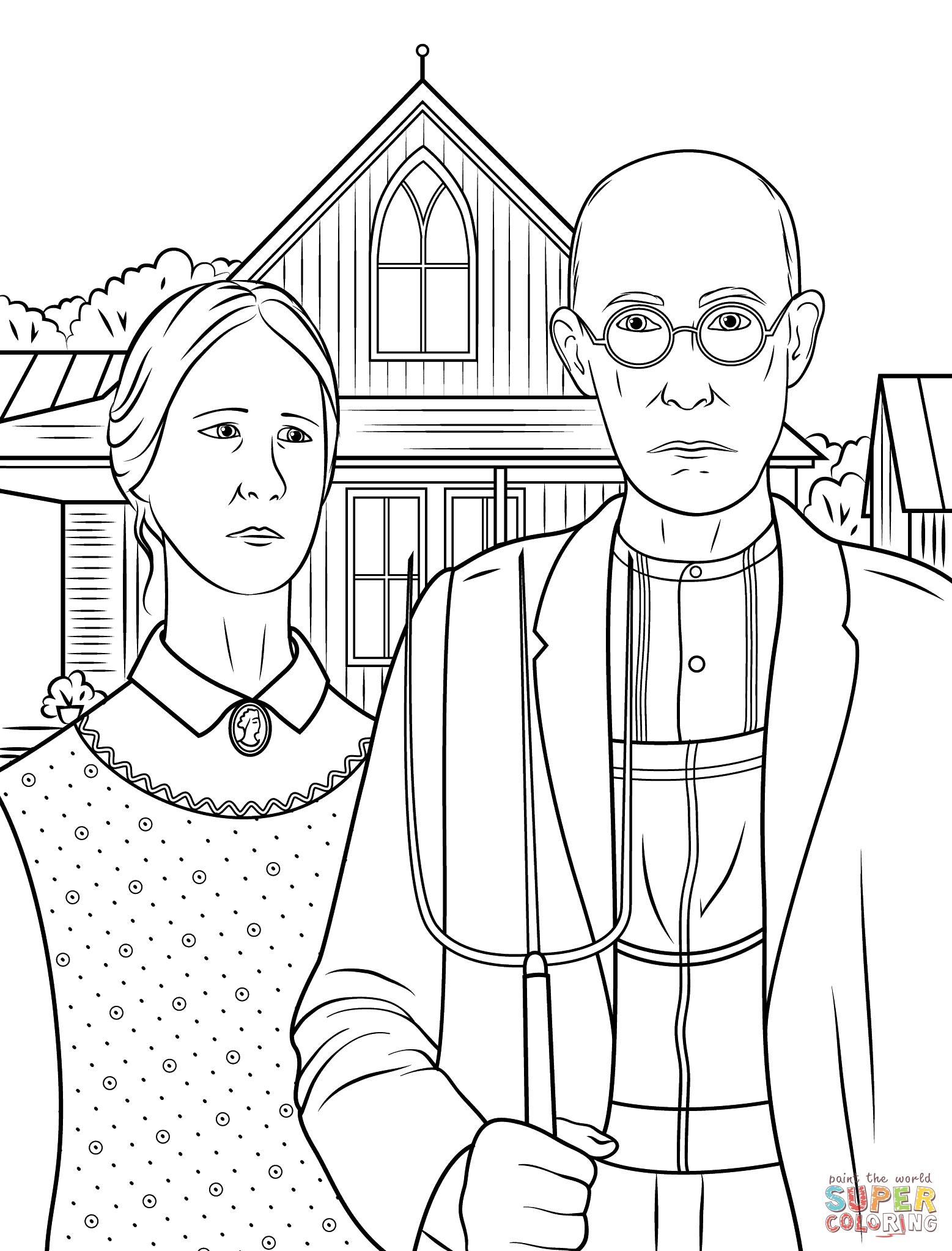 American Gothic By Grant Wood Super Coloring Grant Wood American Gothic American Gothic Famous Art Coloring