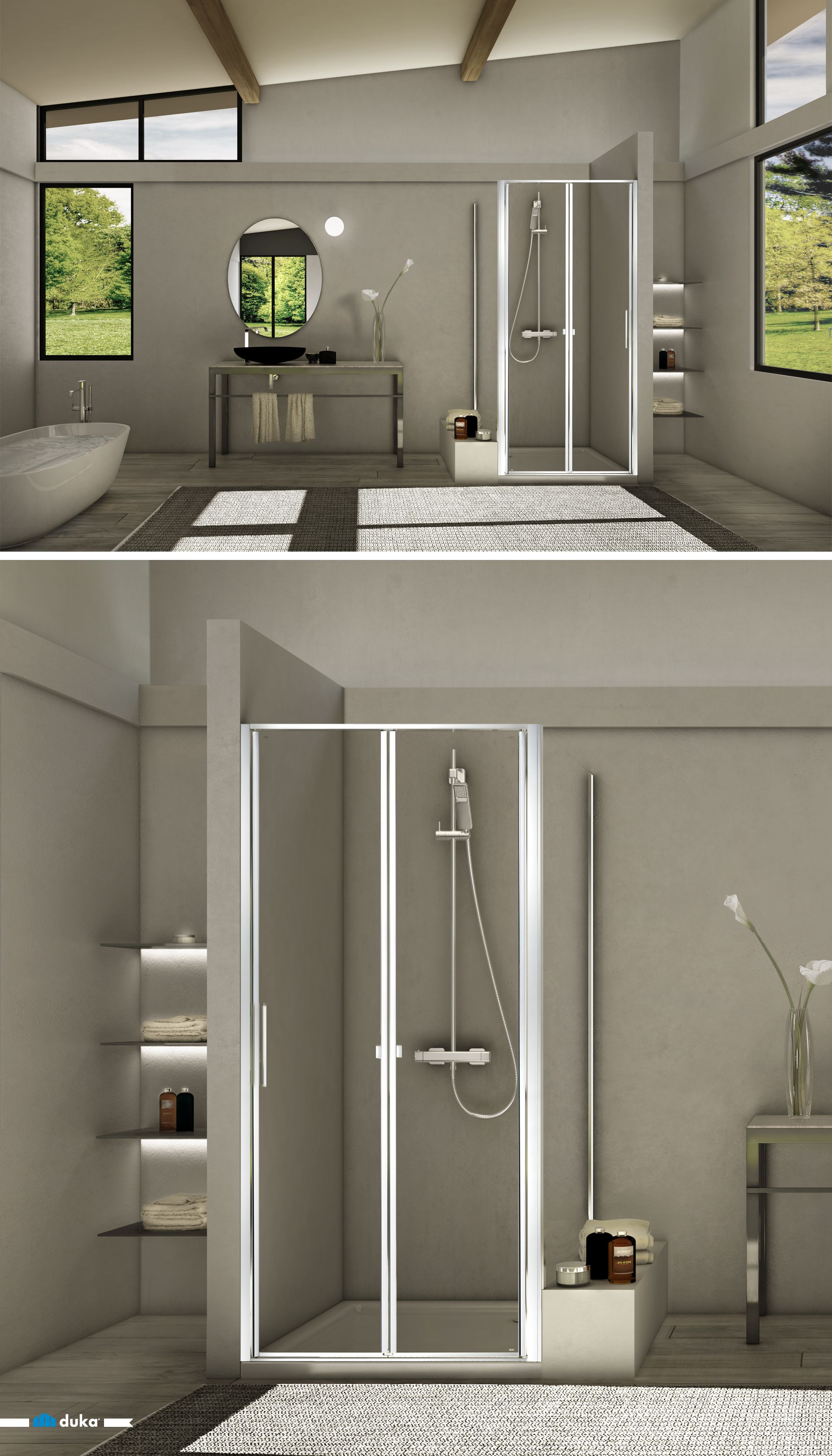 stila 2000 • a shower enclosure that stands out thanks to its combination of design and simplicity. Notice this folding door with two-pieces in niche. It enriches your bathroom space with a unique showering emotion.