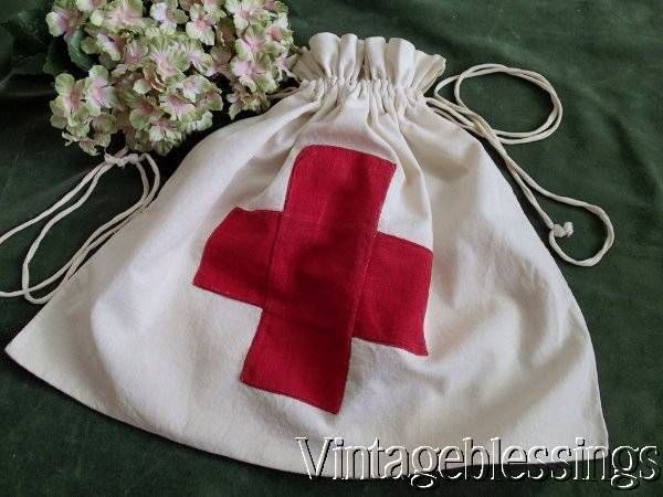 Authentic RED CROSS Fabric Bag WWI or WWII Great ReEnactment Piece