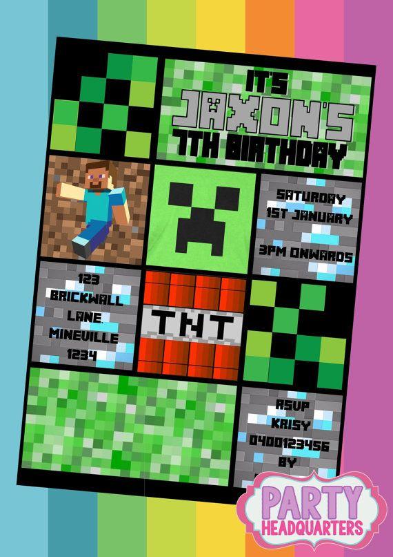 Printable Invitation Minecraft Birthday By Partyheadquarters 10 99