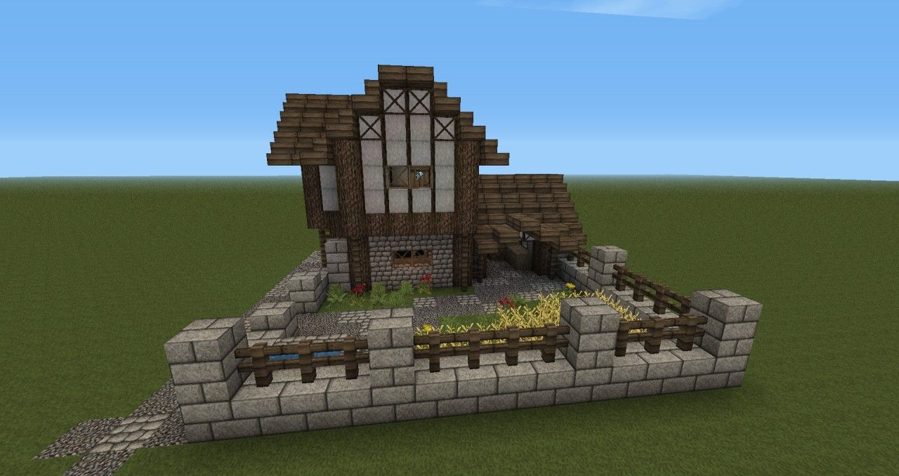 Minecraft Medieval Barn Front of the house, With garden