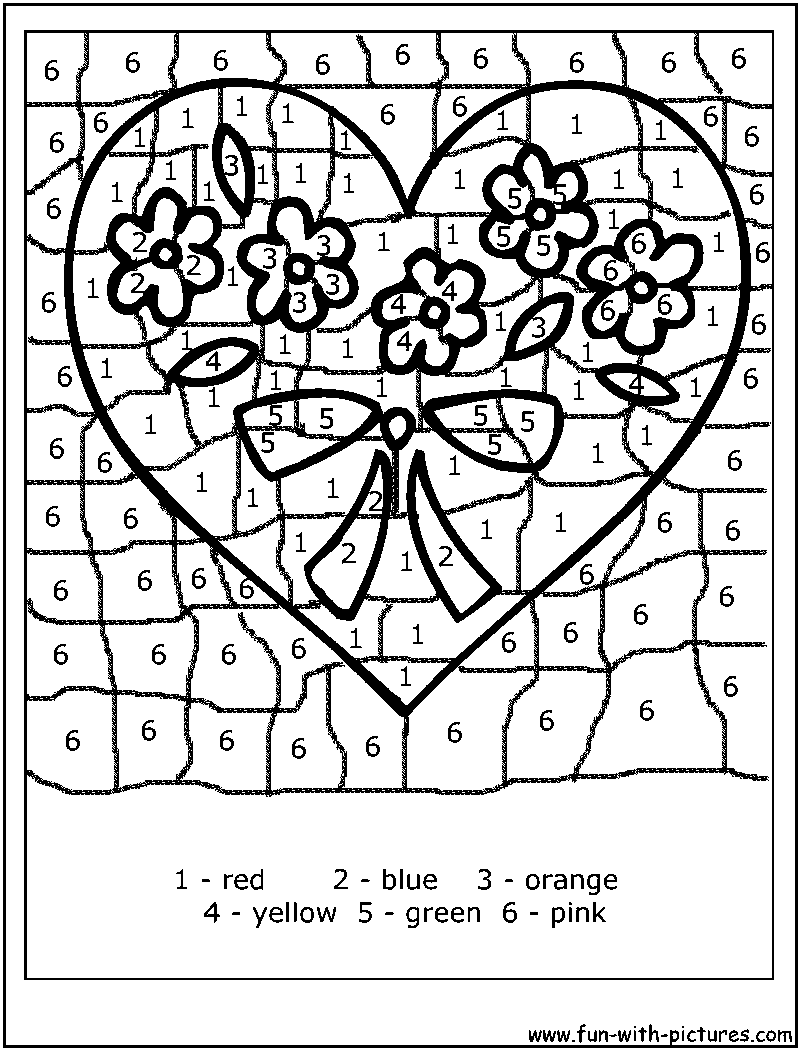Coloring worksheet by numbers - Color By Numbers Valentine Heart