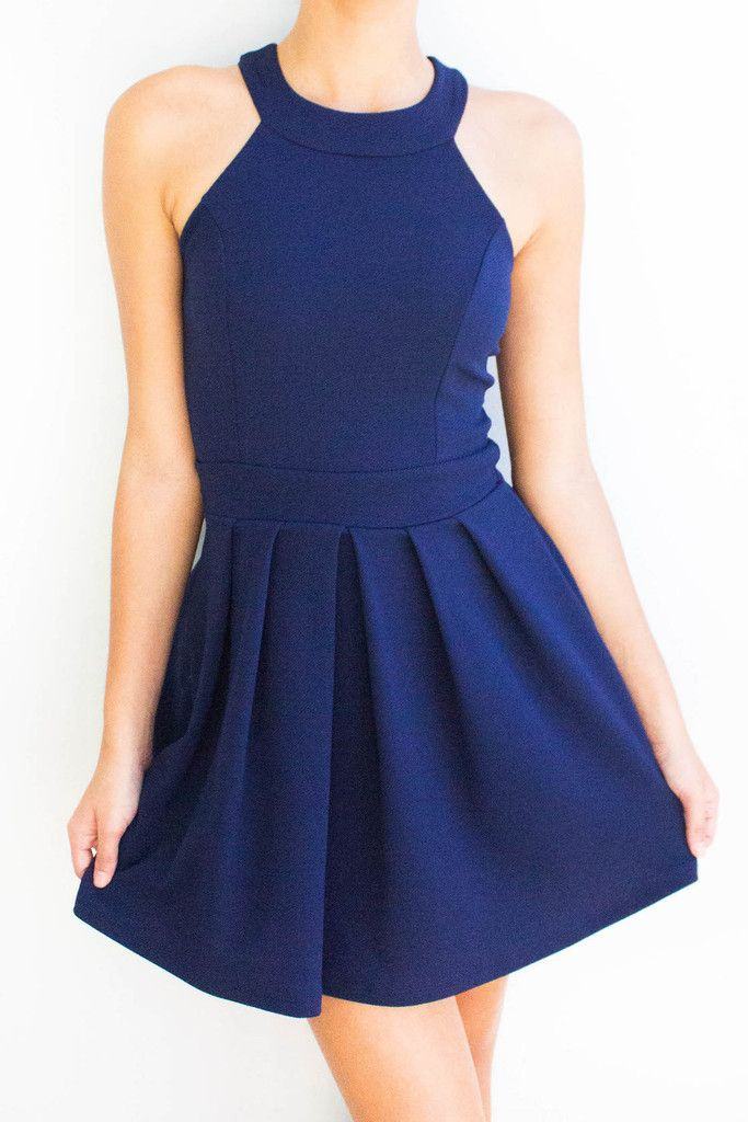 Navy blue fit and flare dress, super comfy with pleated bottom and high round neckline. This comes in burgundy red.