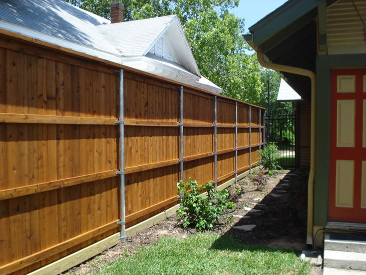 Wood Fences Gallery Viking Fence 8 Tall Full Privacy With Top Cap And Trim Steel Posts Fence Design Cheap Privacy Fence Privacy Fence Designs