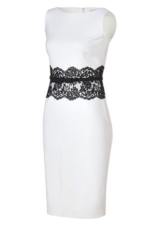 valentino ivory belted wool dress with black lace waist