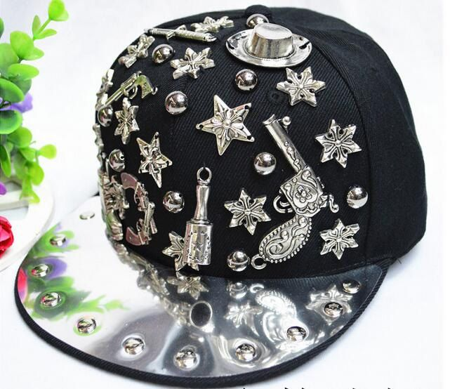 black/silver/gold hiphop snapback pistol/owl/skull design charm casual snapback DJ singer bling baseball cap by littledandeliondream on Etsy