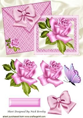 Pretty pink roses and bow on card and envelope on Craftsuprint - Add To Basket!